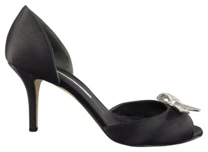 Oscar de la Renta Satin Shortheel Peeptoe Black Sandals