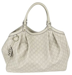 Gucci Handbag Leather Tote in white