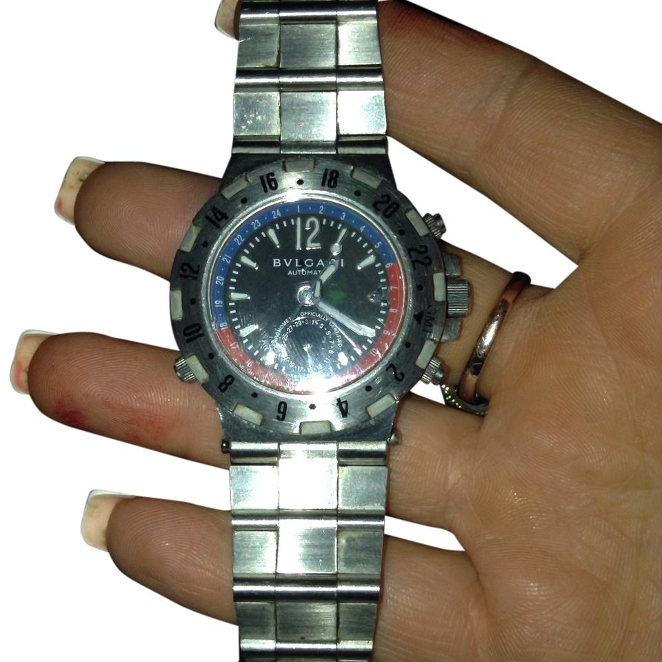 size 40 2364e c42a6 BVLGARI Silver Blue Red Sd 38 S L 2161 Watch 60% off retail
