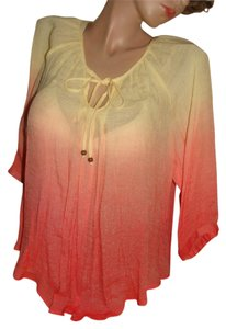 BYER Sheer Casual Formal Top Coral Pink and Banana Yellow
