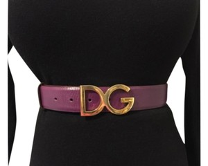 Dolce&Gabbana Dolce & Gabbana Purple Leather Belt With Gold- Tone Hardwear Buckle