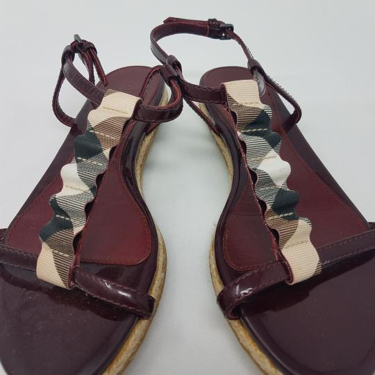 Burberry Patent Leather Nova Check Plaid Ankle Strap Espadrille Red, Beige Sandals Image 4