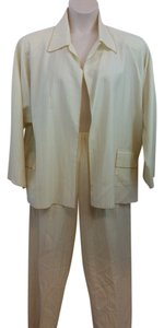 SHAMASK SHAMASK GOLD STRIPES BEIGE WOOL BLEND PANT SUIT 3 OR PLUS SIZE