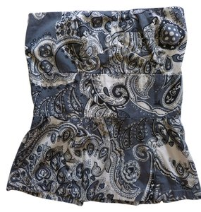 French Connection Bustier Paisley Top Blue