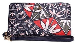 Tory Burch Tory Burch Blue And Orange Multi Print Wristlet Wallet New With Tags