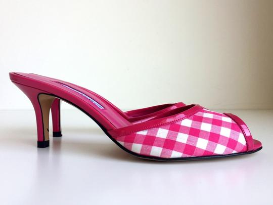 Charles by Charles David Stiletto Peep Toe Checkered Kitten Heels Gingham Pink Mules