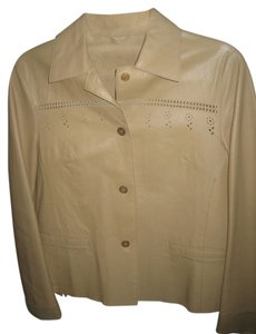 Philosophy di Alberta Ferretti Leather Spring Button Down Italian Beige Blazer