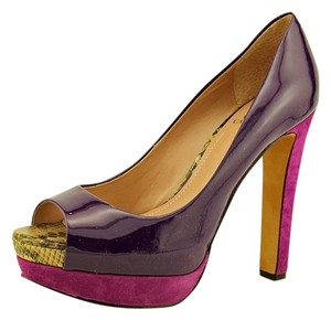 122309e38202 Vince Camuto Chunky Heels High Heels Suede Patent Leather Purple Platforms