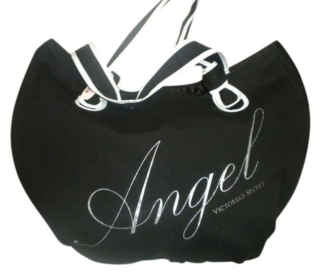 Item - Angel Black with Silver Design Canvas Tote