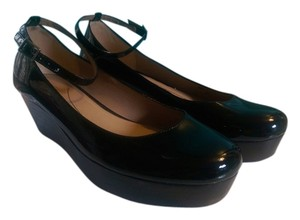 Kate Spade Wear To Work Patent Leather Ankle Strap Black Platforms