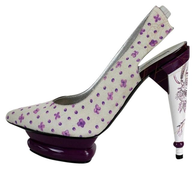 Item - White and Purple Suede Elevated Platforms Size US 7.5 Regular (M, B)