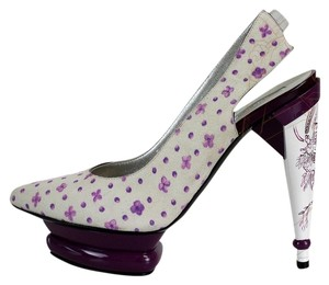 Roberto Cavalli Suede Flowers Elevated White and Purple Platforms