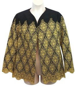 Other Gold Black Lace Jacket Blazer