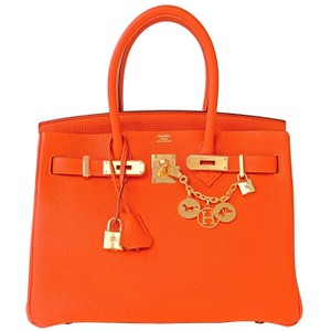 Hermès 30cm Birkin Feu Ghw Satchel in Orange