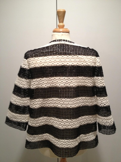 Talbots Embroidered Striped Top Black and White