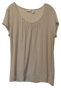 Chico's Silky Stretchy Knit New Top Tan, off-white and gold