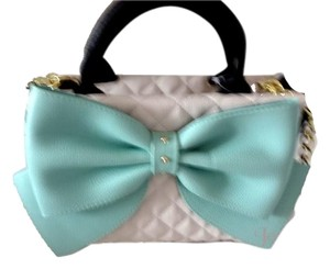 Betsey Johnson Medium Bone Black Mint Bow Cross Body Satchel in bone/black/mint bow