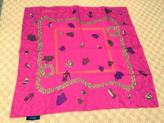 Saint Laurent YSL Pink Bag Shoes Ring Print Silk Scarf
