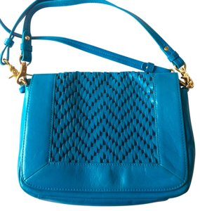 Badgley Mischka Leather Woven Leather Cross Body Bag
