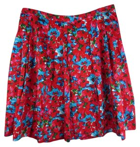 Talbots Floral Pleated Skirt Red, pink, blue, green