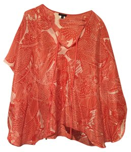 Talbots Silk Caftan Swing Poncho Top Orange