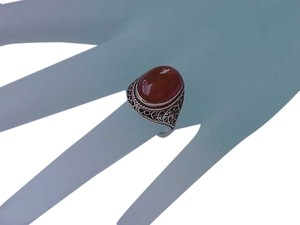 Antique Victorian Huge Genuine Carnelian 14k Filigree WG Ring , early 1900's