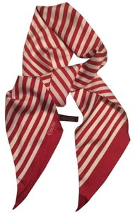 Coach Coach Red & White Striped Silk Scarf