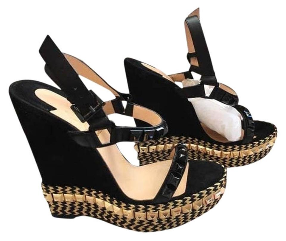 c2cb29ef4e1 Christian Louboutin Black Cataclou Suede Leather Espadrilles 140mm  Black/Gold Platforms Sandals Wedges Size US 7 Regular (M, B) 12% off retail