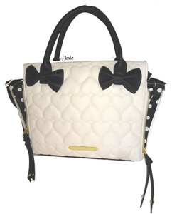 Betsey Johnson Black Bows Quilted Heart Satchel in BONE