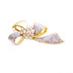 Wedding Dress Brooch Desinged Bow Brooch Gold W/ Diamonds Brooch