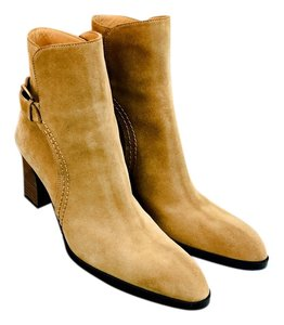 Tod's Suede Leather Buckle Stacked Heel Tan Boots