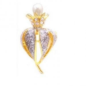 Gold Blooming Pearls Bud Decorated W/ Cubic Zircon Crystals Brooch/Pin