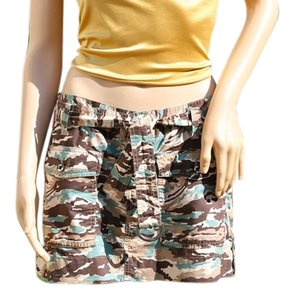 Joie Mini Cotton Mini Skirt Camouflage