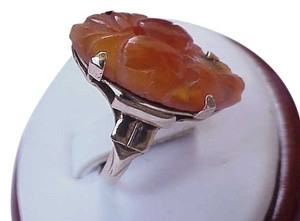 Antique Victorian Rare Huge Carved Translucent Genuine Carnelian Scarab 10k YG Ring , Circa 1900's