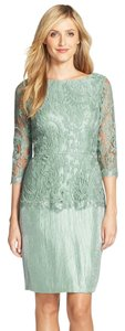 Adrianna Papell 3/4 Sleeve Lace Peplum Dress