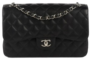 Chanel Classic Flap Silver Hardware Double Flap Caviar Jumbo Shoulder Bag