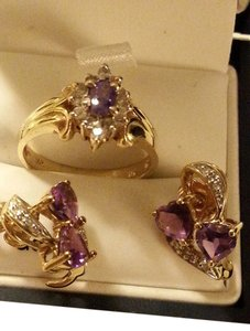Amethyst earring and ring Solid Yellow Gold 10K Earring & 14K size 7 Ring
