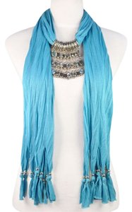 Brand New! Beautiful Blue Jeweled Pendant Scarf With Silver Toned & Crystal Hanging Beads& Fringe Bottom!!