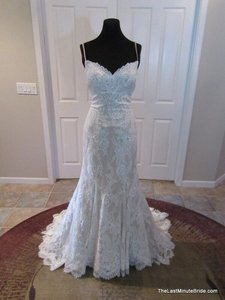 Justin Alexander Ivory Lace/Taupe Lining Chantilly 8791 Vintage Wedding Dress Size 10 (M)