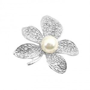 Silver Ivory Contemporary Dashing Sparkling Flower Dress Brooch/Pin