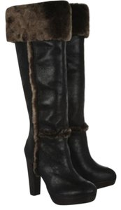 Tory Burch Sebastian Black Leather/Brown Fur Trim Boots