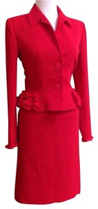 Valentino SpA Red Peplum Skirt Suit
