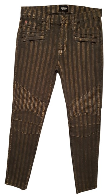 Item - Dark Gray and Gold Metallic Stripping Coated Shelby Motor Skinny Jeans Size 27 (4, S)