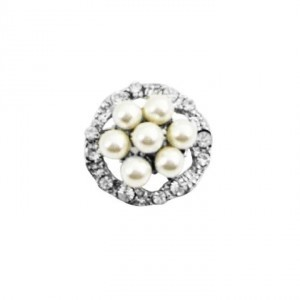 Silver Ivory Round Pearl Vintage Surrounded Simulated Diamond Plated Brooch/Pin