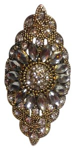 New Antiqued Gold Statement Ring Size 8 Chunky Crystals J2408