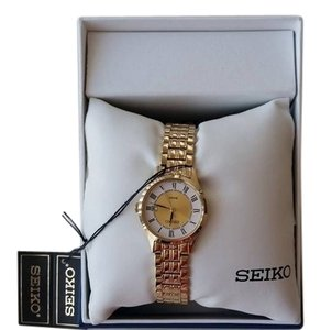 Seiko Womens Gold Tone Stainless Steel Dress Quartz Link Bracelet Watch Seiko