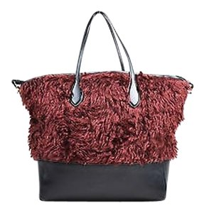 Rochas Black Maroon Leather Mohair With Zipper Pouch Tote in Red