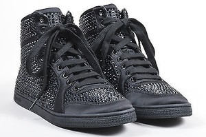 Gucci Poli Satin Crystal Embellished Lace Up High Top Sneakers Black Athletic