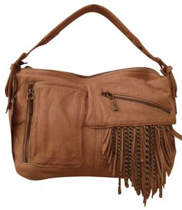 Junior Drake Kirrin Latte Tumbled Leather Fringe Chain New Shoulder Bag