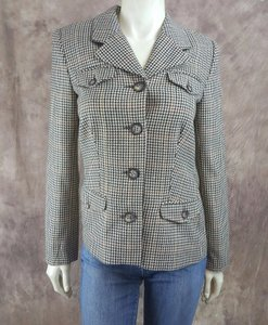 Boston Proper Boston Proper Brown Ivory Wool Blend Houndstooth Plaid Blazer Jacket
